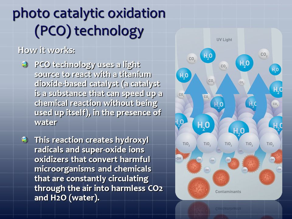 photo catalytic oxidation (PCO) technology PCO technology uses a light source to react with a titanium dioxide-based catalyst (a catalyst is a substance that can speed up a chemical reaction without being used up itself), in the presence of water This reaction creates hydroxyl radicals and super-oxide ions oxidizers that convert harmful microorganisms and chemicals that are constantly circulating through the air into harmless CO2 and H2O (water).