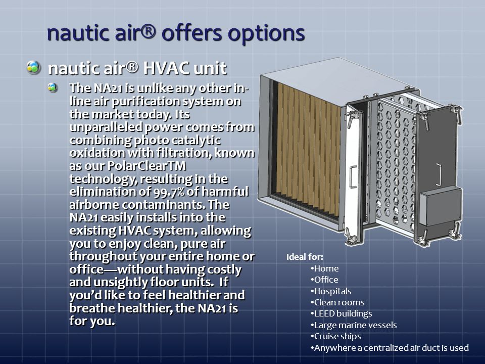 nautic air® offers options nautic air® HVAC unit The NA21 is unlike any other in- line air purification system on the market today.