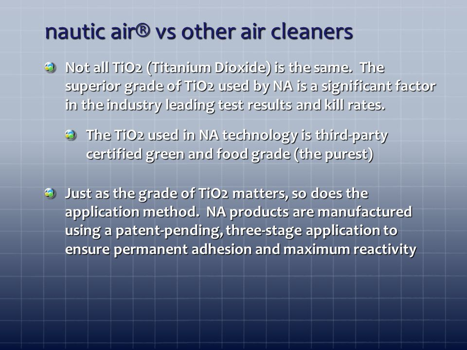 nautic air® vs other air cleaners Not all TiO2 (Titanium Dioxide) is the same.