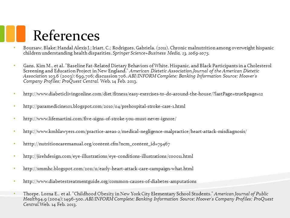References Boursaw, Blake; Handal Alexis J.; Iriart, C.; Rodrigues, Gabriela.