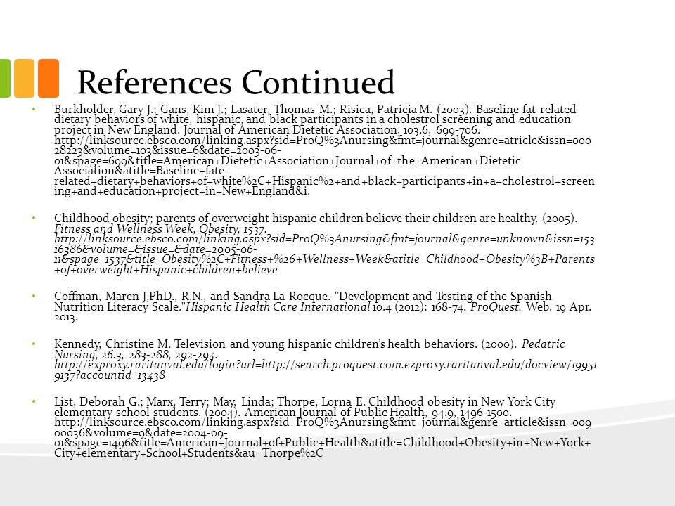 References Continued Burkholder, Gary J.; Gans, Kim J.; Lasater, Thomas M.; Risica, Patricia M.