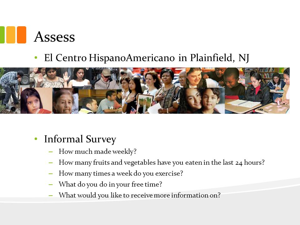 Assess El Centro HispanoAmericano in Plainfield, NJ Informal Survey – How much made weekly.