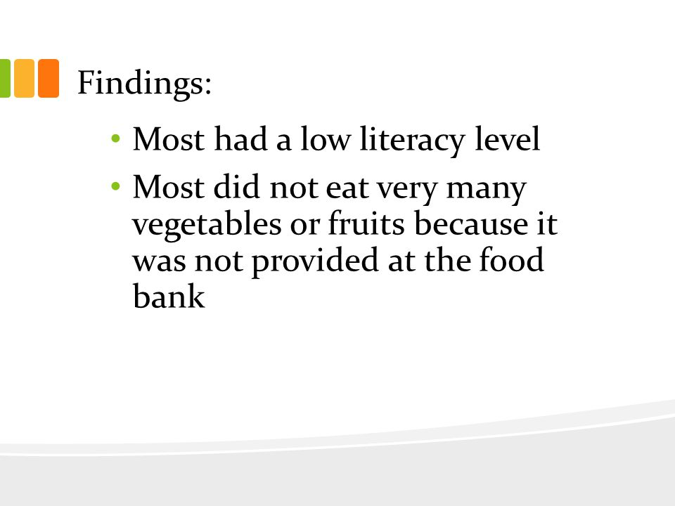 Findings: Most had a low literacy level Most did not eat very many vegetables or fruits because it was not provided at the food bank