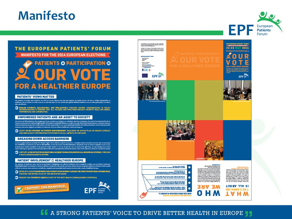 Manifesto translated in all 24 languages to cascade the campaign at national level More details about the campaign to be embedded in background papers National patients' organisations will receive a guidance (toolkit & webinar) on how to support the campaign Possibility to support the Manifesto (online form)online form Make the campaign alive on Twitter #patientsvote #epf2014 @eupatientsforum More information about the campaign