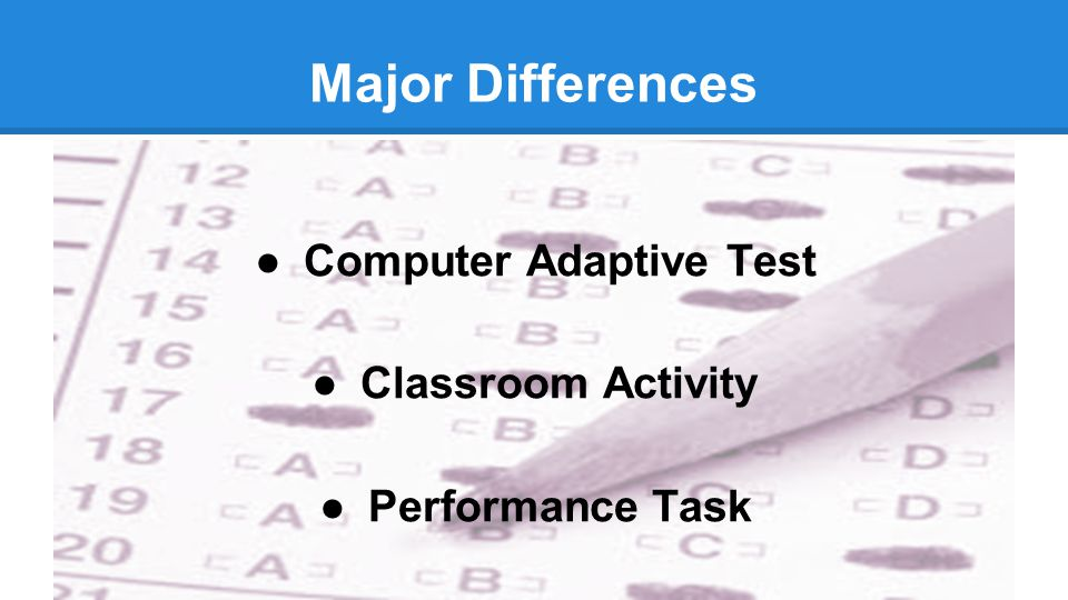 Major Differences ●Computer Adaptive Test ●Classroom Activity ●Performance Task