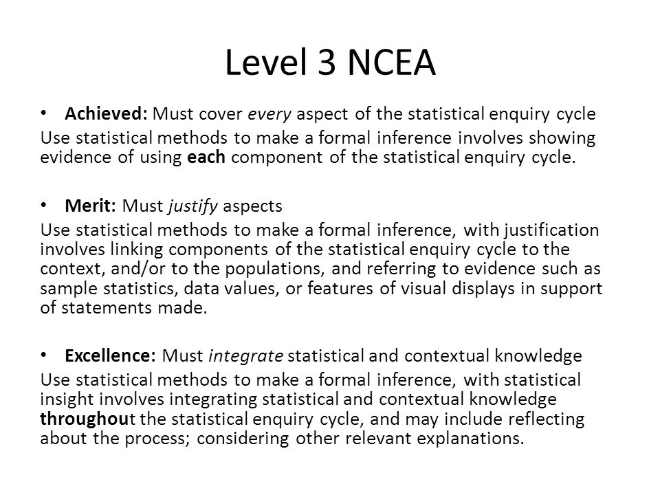Level 3 NCEA Achieved: Must cover every aspect of the statistical enquiry cycle Use statistical methods to make a formal inference involves showing ev