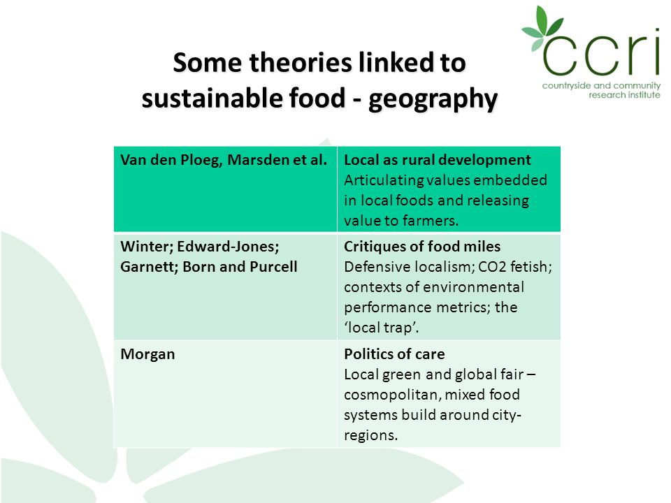 Some theories linked to sustainable food - geography Van den Ploeg, Marsden et al.Local as rural development Articulating values embedded in local foods and releasing value to farmers.