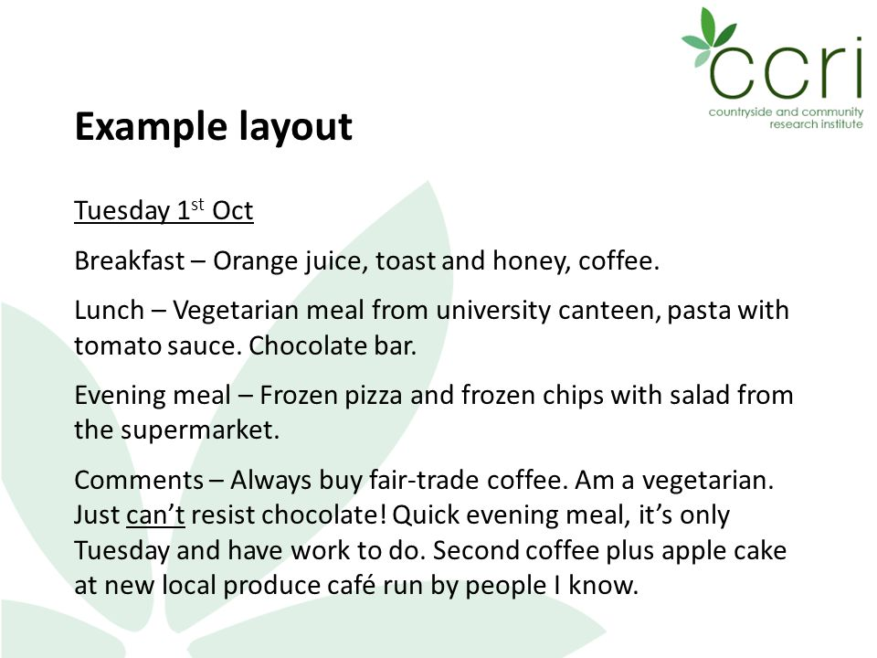 Example layout Tuesday 1 st Oct Breakfast – Orange juice, toast and honey, coffee.