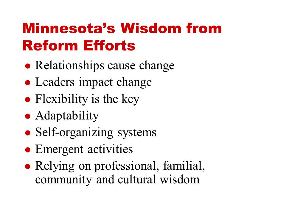 Minnesota's Wisdom from Reform Efforts Relationships cause change Leaders impact change Flexibility is the key Adaptability Self-organizing systems Emergent activities Relying on professional, familial, community and cultural wisdom