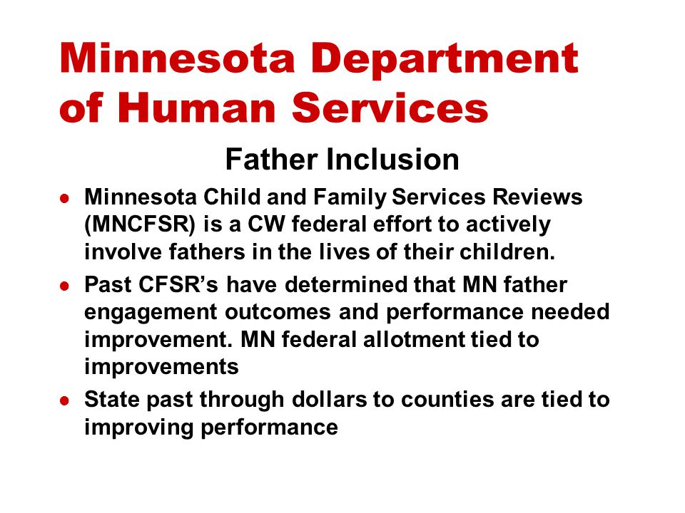 Minnesota Department of Human Services Engagement Assessment Case Planning and implementation Monitoring and evaluation Case Closing