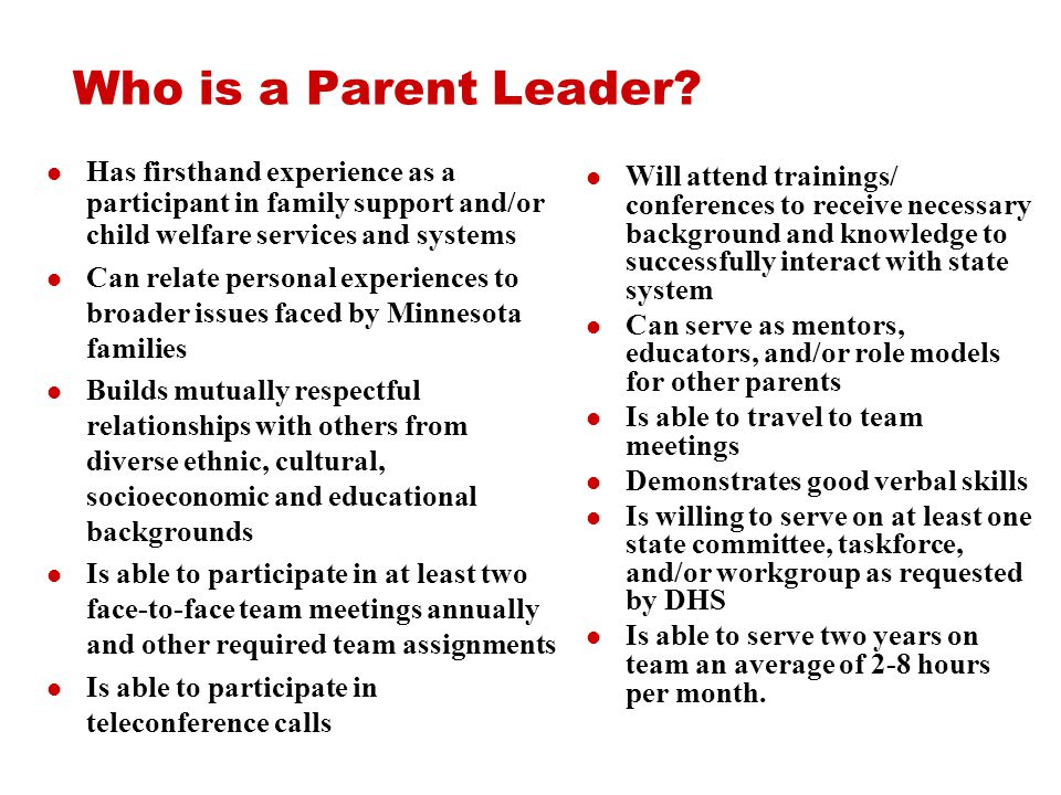 Who is a Parent Leader.