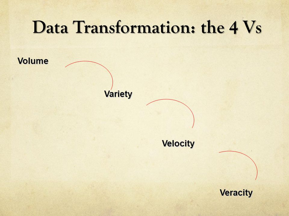 Data Transformation: the 4 Vs Data Transformation: the 4 Vs VolumeVarietyVelocityVeracity
