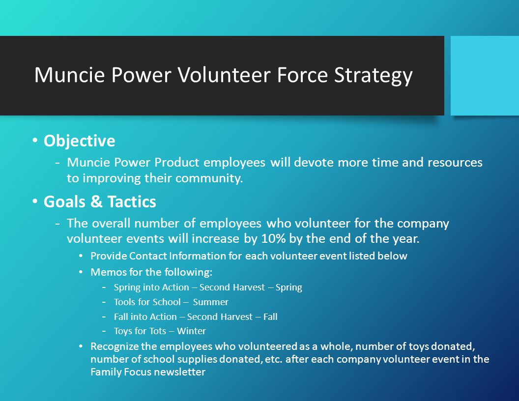 Muncie Power Volunteer Force Strategy Objective -Muncie Power Product employees will devote more time and resources to improving their community.