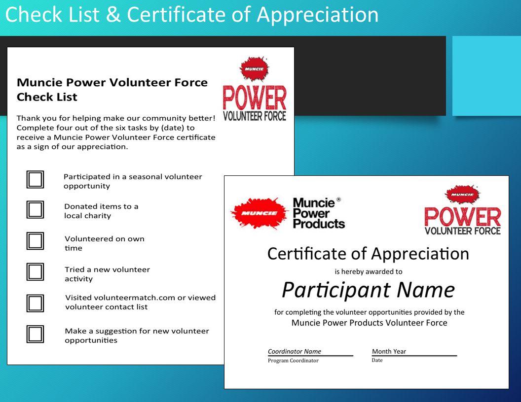 Check List & Certificate of Appreciation