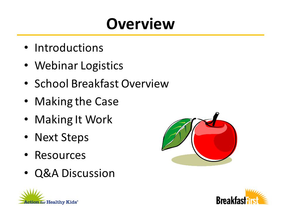 Introductions Webinar Logistics School Breakfast Overview Making the Case Making It Work Next Steps Resources Q&A Discussion Overview