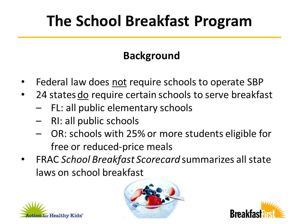 Pre-2007 – Traditional before-school program 2007 – Universal breakfast in the classroom pilot school 2008 – Dedicated program director and implementation team 2009 – Universal breakfast policy for all schools Voluntary BIC expanded to 85 schools 2010 – Voluntary BIC expanded to 200 schools 2011 – Board adopts BIC policy for all elementary schools Program fully implemented by June 2011 First large-scale high school program at Roosevelt Breakfast at Chicago Public Schools
