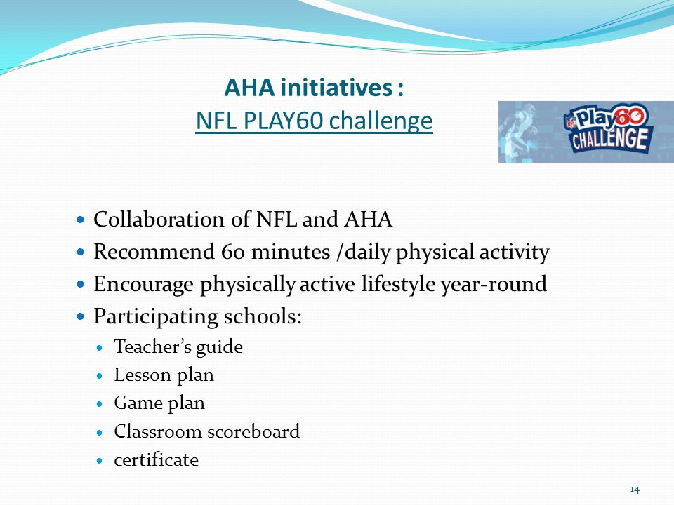AHA initiatives : NFL PLAY60 challenge Collaboration of NFL and AHA Recommend 60 minutes /daily physical activity Encourage physically active lifestyle year-round Participating schools: Teacher's guide Lesson plan Game plan Classroom scoreboard certificate 14