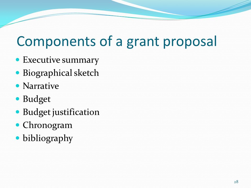 Components of a grant proposal Executive summary Biographical sketch Narrative Budget Budget justification Chronogram bibliography 28