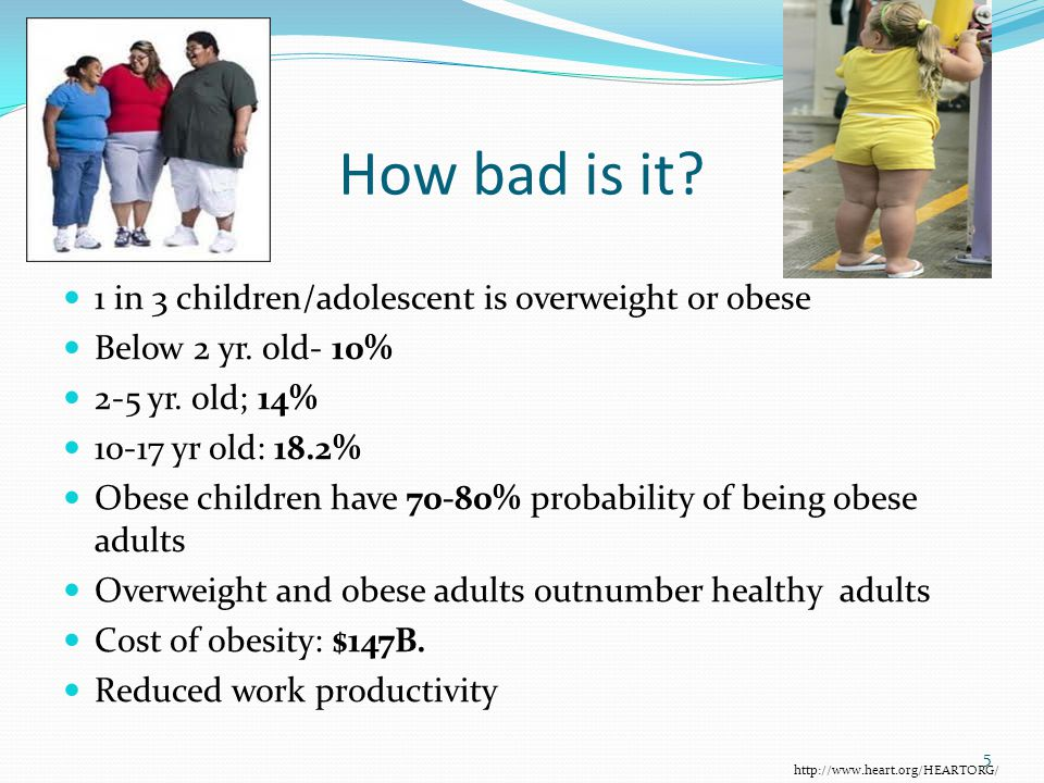 How bad is it. 1 in 3 children/adolescent is overweight or obese Below 2 yr.