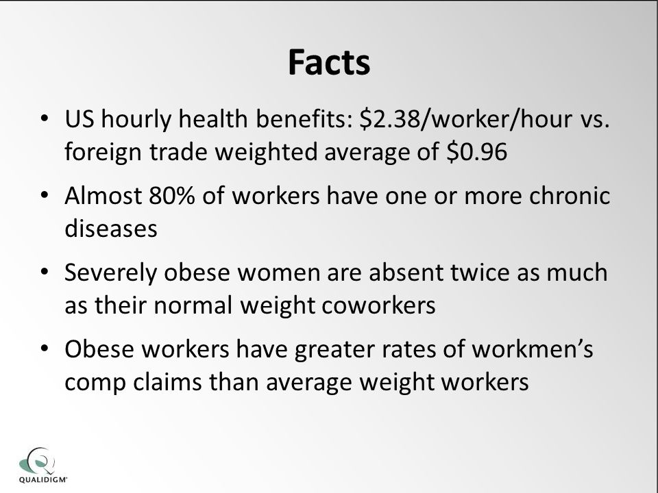 Facts US hourly health benefits: $2.38/worker/hour vs.