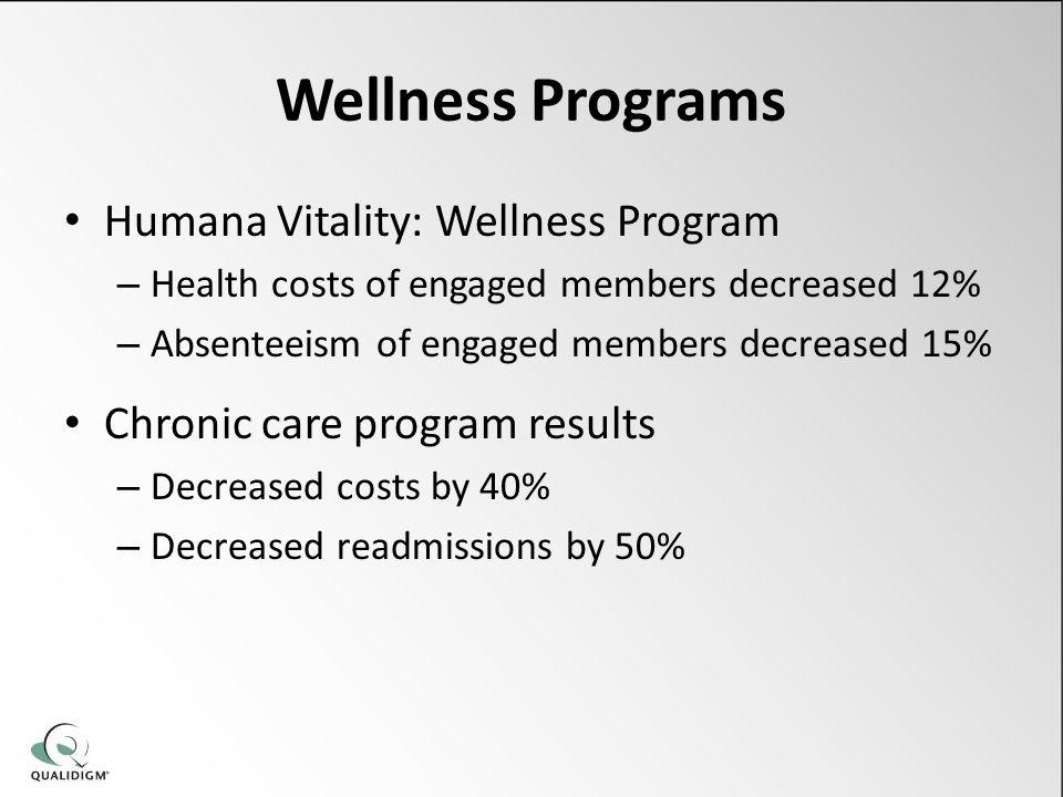 Wellness Programs Humana Vitality: Wellness Program – Health costs of engaged members decreased 12% – Absenteeism of engaged members decreased 15% Chr