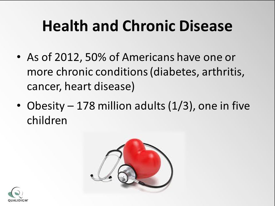 Health and Chronic Disease As of 2012, 50% of Americans have one or more chronic conditions (diabetes, arthritis, cancer, heart disease) Obesity – 178
