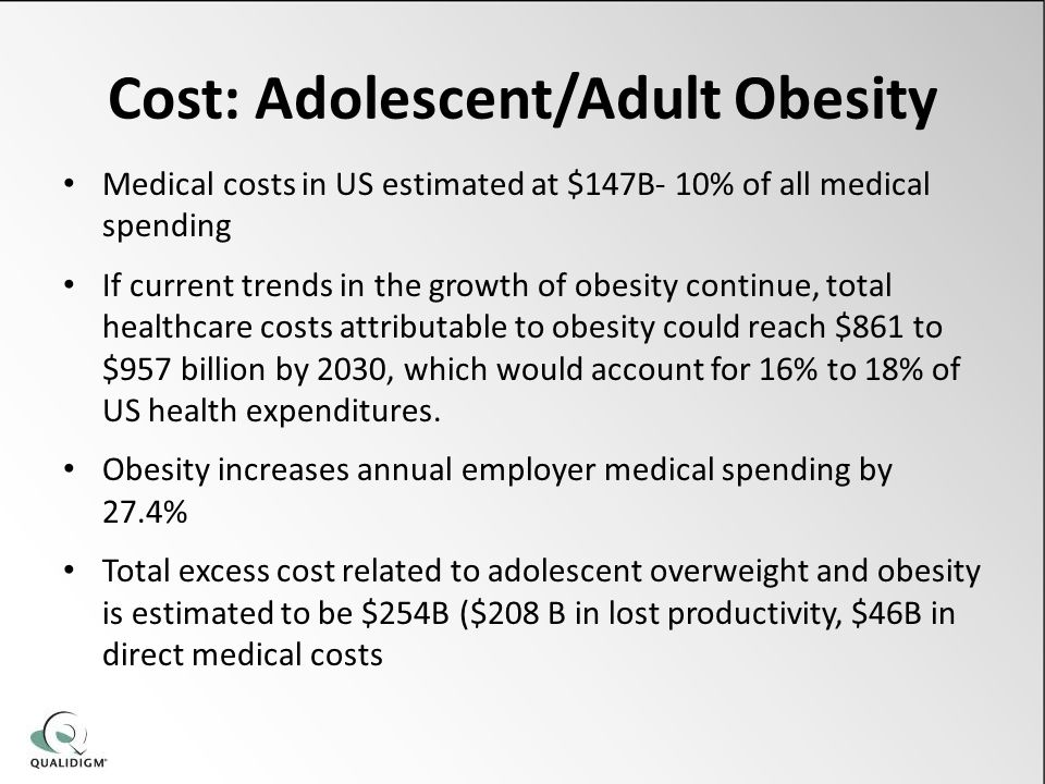 Cost: Adolescent/Adult Obesity Medical costs in US estimated at $147B- 10% of all medical spending If current trends in the growth of obesity continue, total healthcare costs attributable to obesity could reach $861 to $957 billion by 2030, which would account for 16% to 18% of US health expenditures.