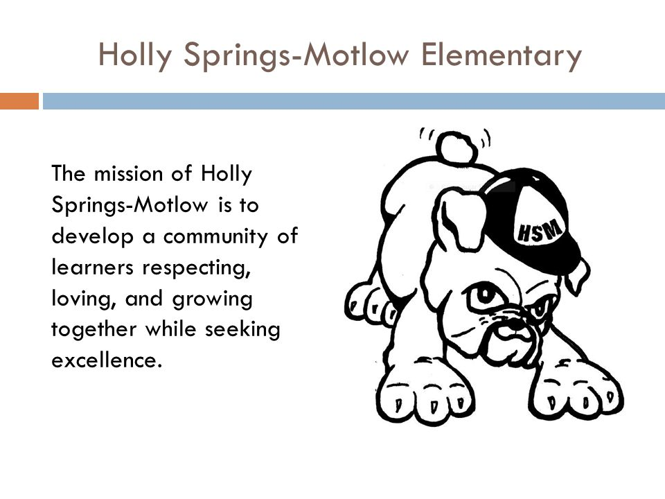 Holly Springs-Motlow Elementary The mission of Holly Springs-Motlow is to develop a community of learners respecting, loving, and growing together while seeking excellence.