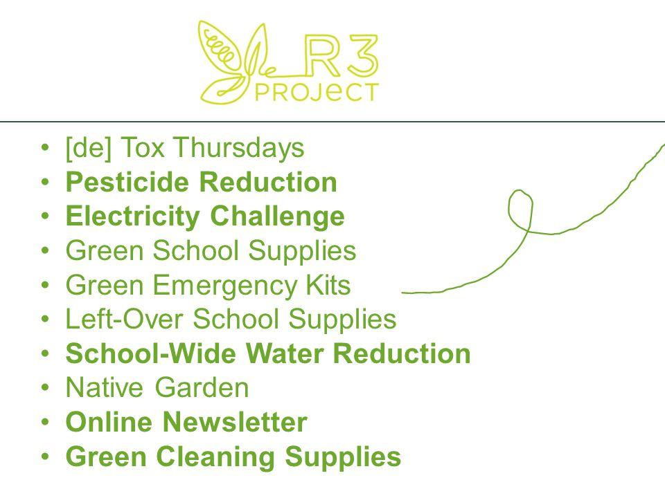 [de] Tox Thursdays Pesticide Reduction Electricity Challenge Green School Supplies Green Emergency Kits Left-Over School Supplies School-Wide Water Re