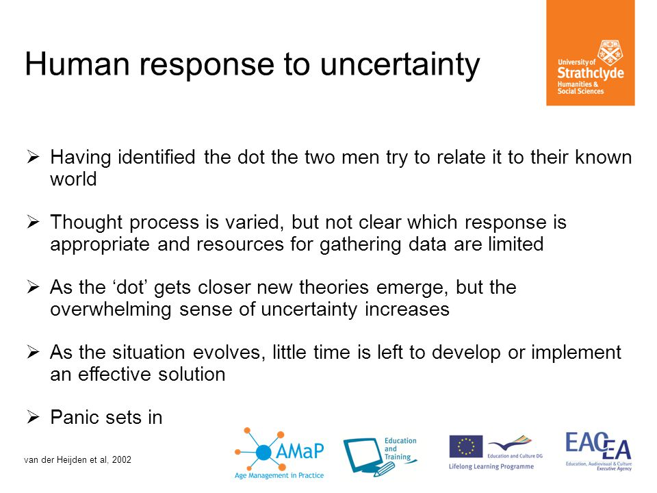 Human response to uncertainty  Having identified the dot the two men try to relate it to their known world  Thought process is varied, but not clear which response is appropriate and resources for gathering data are limited  As the 'dot' gets closer new theories emerge, but the overwhelming sense of uncertainty increases  As the situation evolves, little time is left to develop or implement an effective solution  Panic sets in van der Heijden et al, 2002