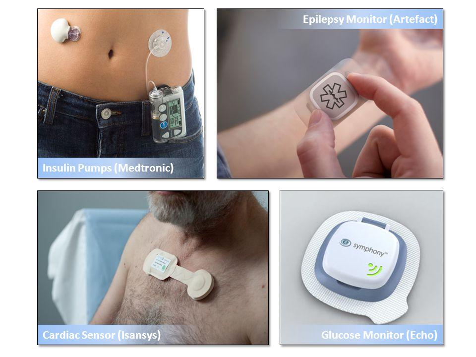 Cardiac Sensor (Isansys) Epilepsy Monitor (Artefact) Insulin Pumps (Medtronic) Glucose Monitor (Echo)