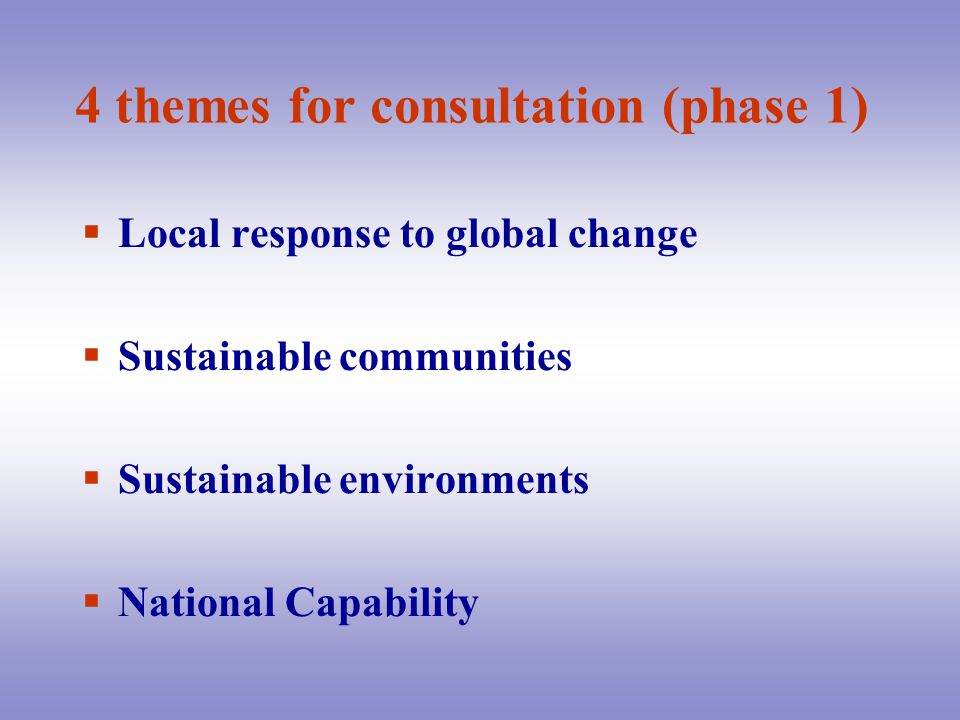 4 themes for consultation (phase 1)  Local response to global change  Sustainable communities  Sustainable environments  National Capability