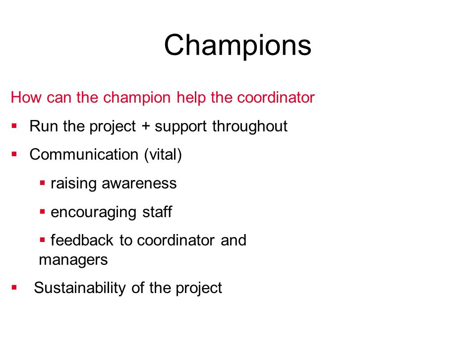 Champions How can the champion help the coordinator  Run the project + support throughout  Communication (vital)  raising awareness  encouraging s