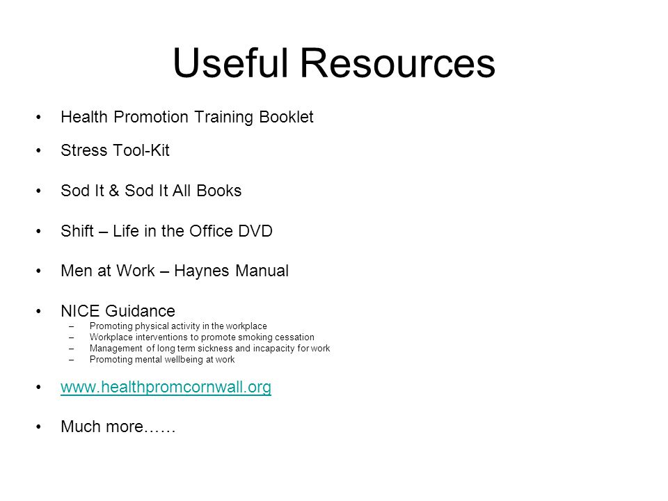 Useful Resources Health Promotion Training Booklet Stress Tool-Kit Sod It & Sod It All Books Shift – Life in the Office DVD Men at Work – Haynes Manua