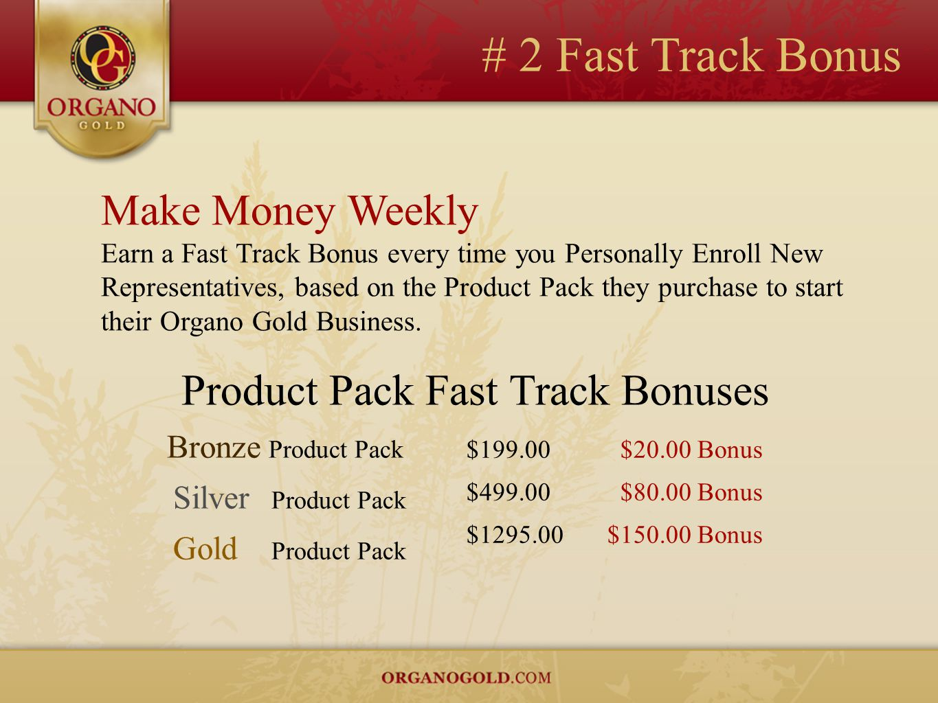 # 2 Fast Track Bonus Make Money Weekly Earn a Fast Track Bonus every time you Personally Enroll New Representatives, based on the Product Pack they pu
