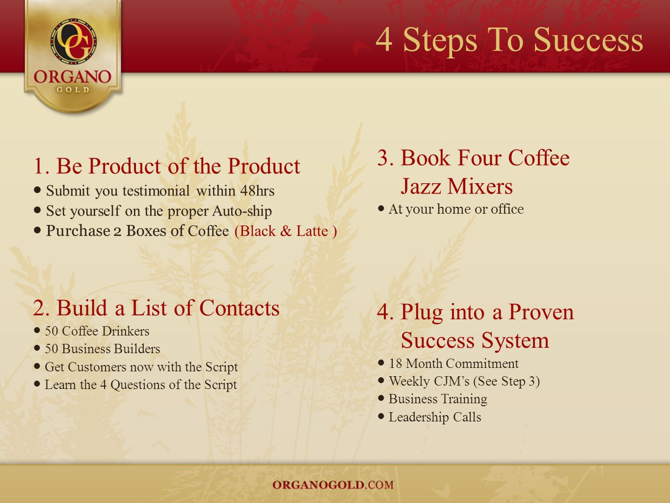 4 Steps To Success 1. Be Product of the Product ● Submit you testimonial within 48hrs ● Set yourself on the proper Auto-ship ● Purchase 2 Boxes of Cof