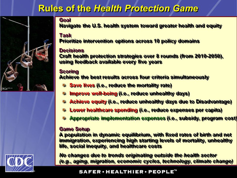 Rules of the Health Protection Game Goal Navigate the U.S. health system toward greater health and equity Task Prioritize intervention options across
