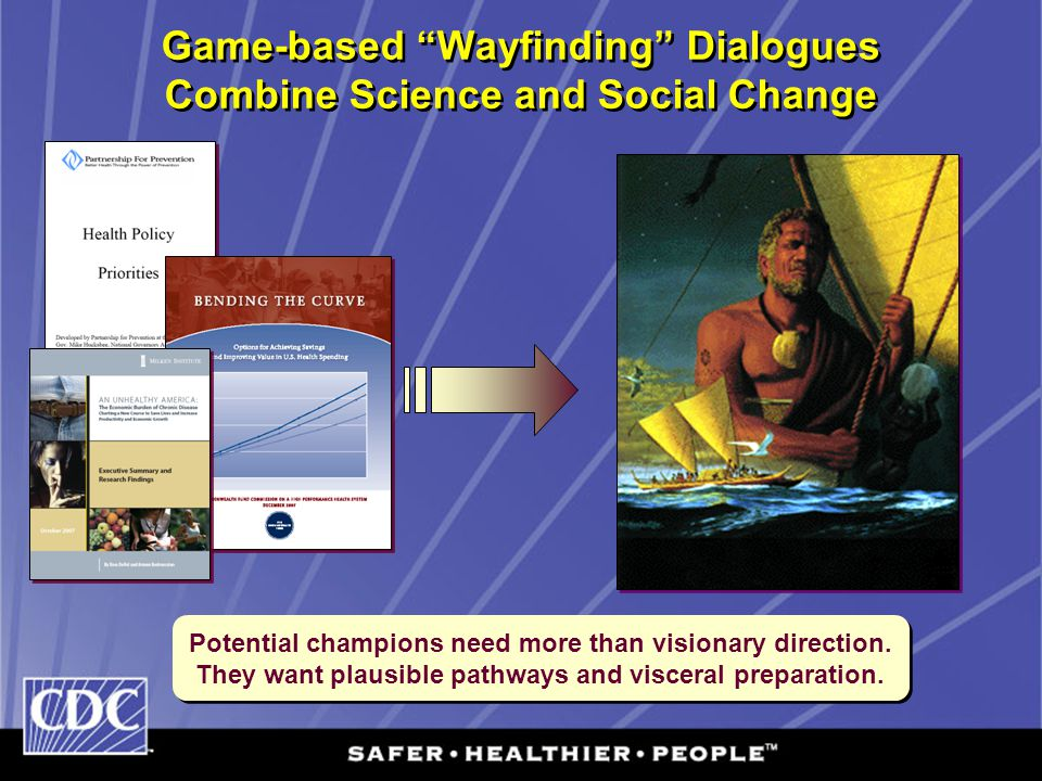 "Game-based ""Wayfinding"" Dialogues Combine Science and Social Change Potential champions need more than visionary direction. They want plausible pathwa"