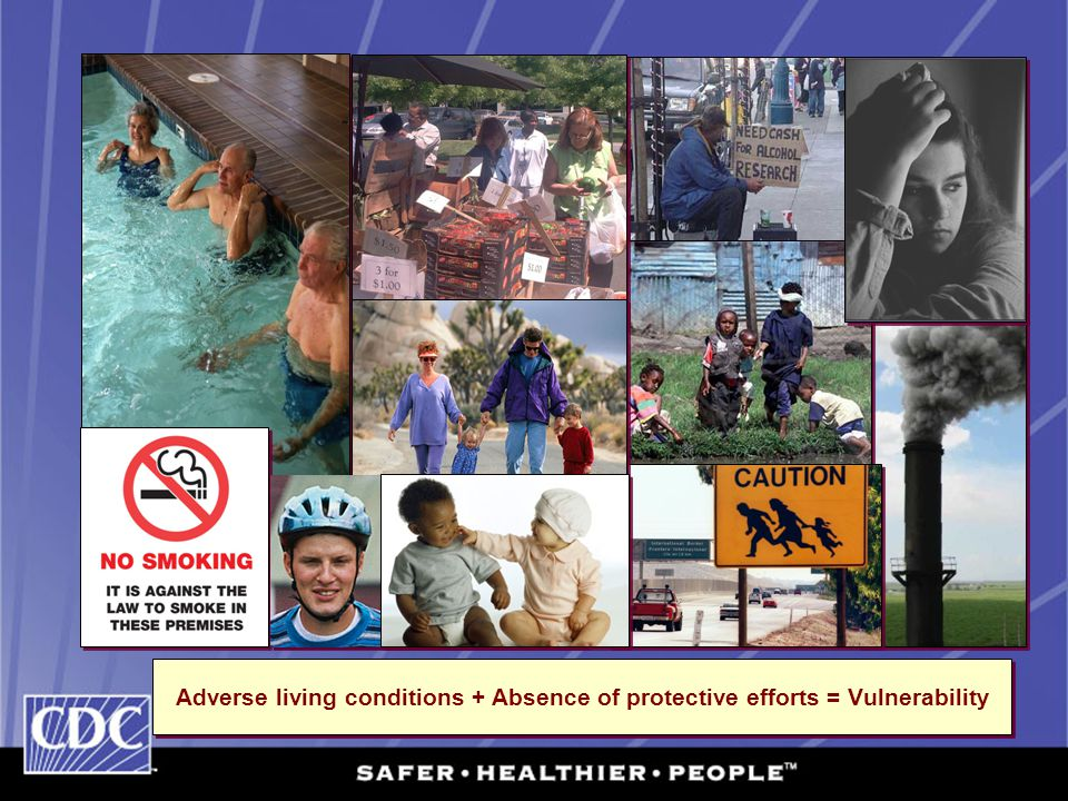 Adverse living conditions + Absence of protective efforts = Vulnerability