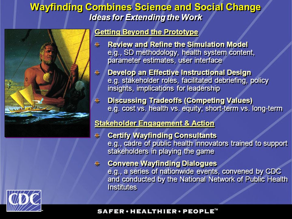 Wayfinding Combines Science and Social Change Ideas for Extending the Work Getting Beyond the Prototype Review and Refine the Simulation Model e.g., S