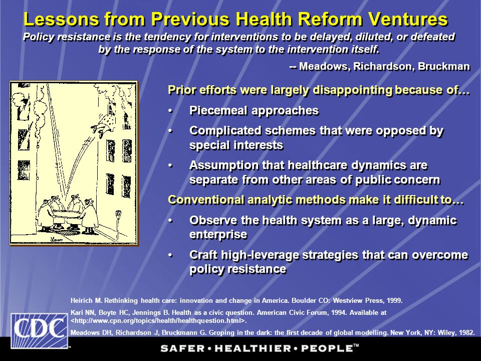 Lessons from Previous Health Reform Ventures Heirich M. Rethinking health care: innovation and change in America. Boulder CO: Westview Press, 1999. Ka