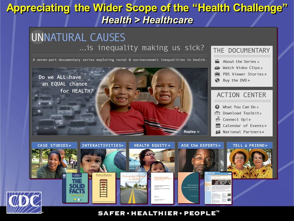 "Appreciating the Wider Scope of the ""Health Challenge"" Health > Healthcare"