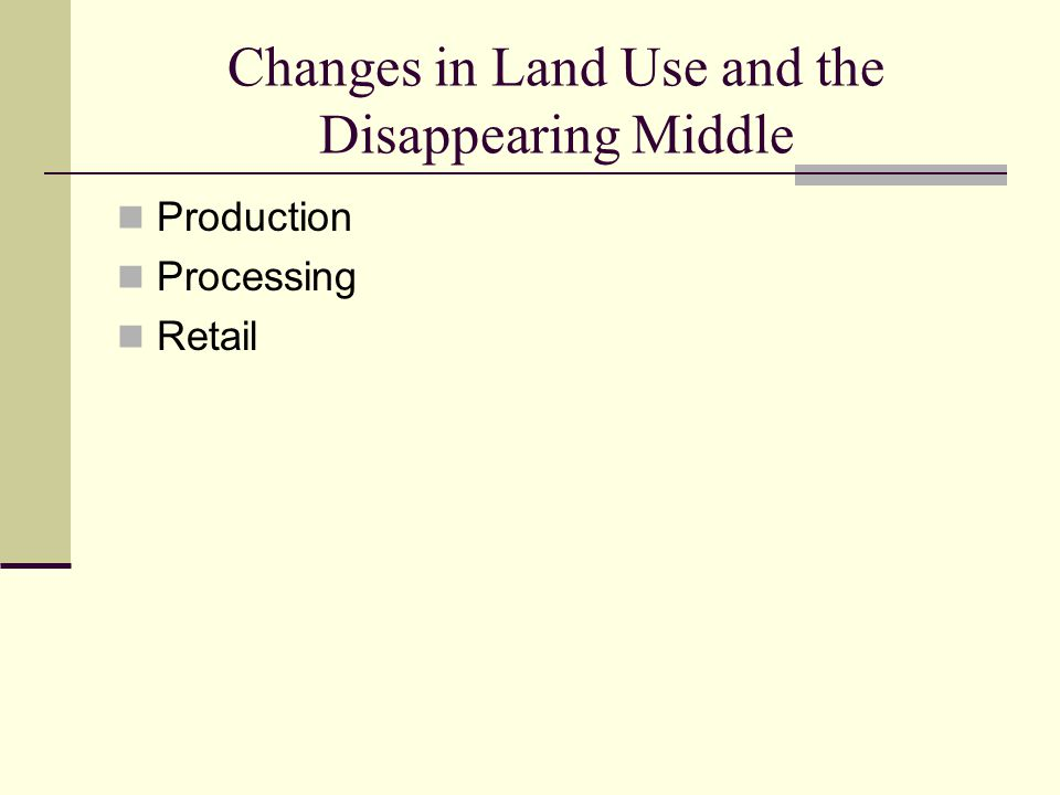 Changes in Land Use and the Disappearing Middle Production Processing Retail