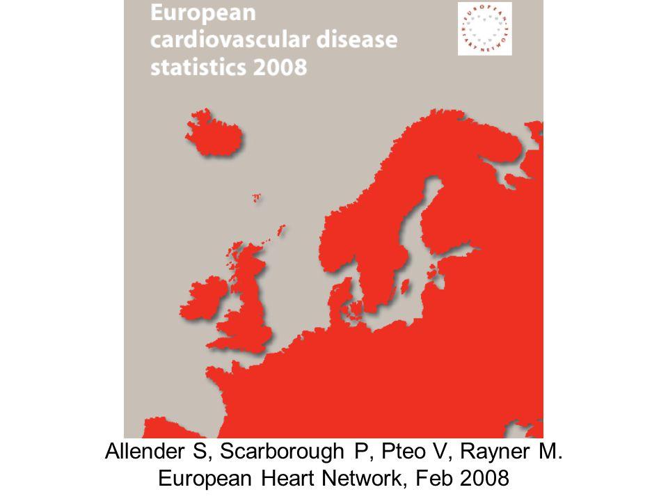 Allender S, Scarborough P, Pteo V, Rayner M. European Heart Network, Feb 2008