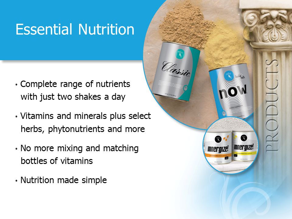 Essential Nutrition Complete range of nutrients with just two shakes a day Vitamins and minerals plus select herbs, phytonutrients and more No more mi