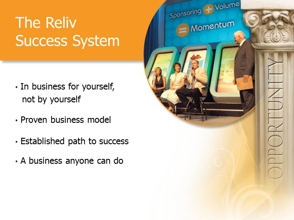 The Reliv Success System In business for yourself, not by yourself Proven business model Established path to success A business anyone can do
