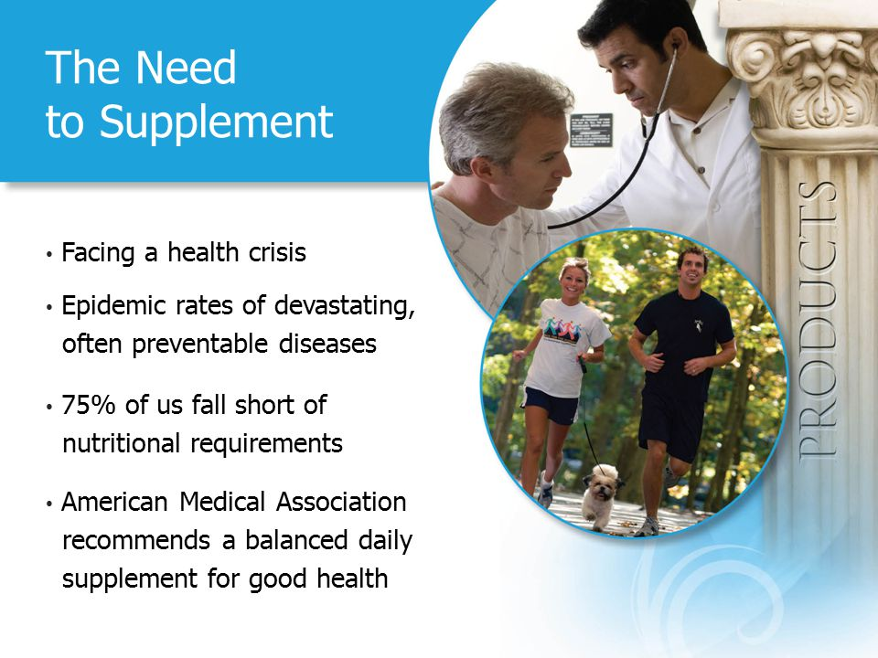 The Need to Supplement Facing a health crisis Epidemic rates of devastating, often preventable diseases 75% of us fall short of nutritional requirements American Medical Association recommends a balanced daily supplement for good health