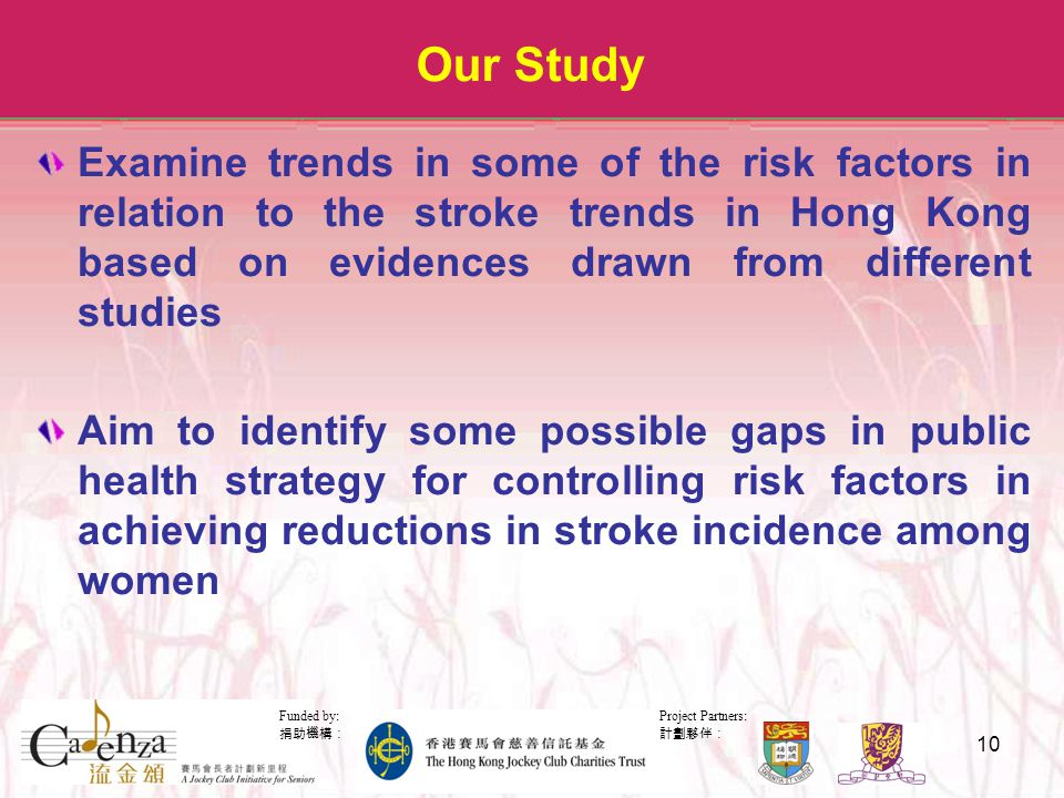 Project Partners: 計劃夥伴: Funded by: 捐助機構: 10 Our Study Examine trends in some of the risk factors in relation to the stroke trends in Hong Kong based on evidences drawn from different studies Aim to identify some possible gaps in public health strategy for controlling risk factors in achieving reductions in stroke incidence among women