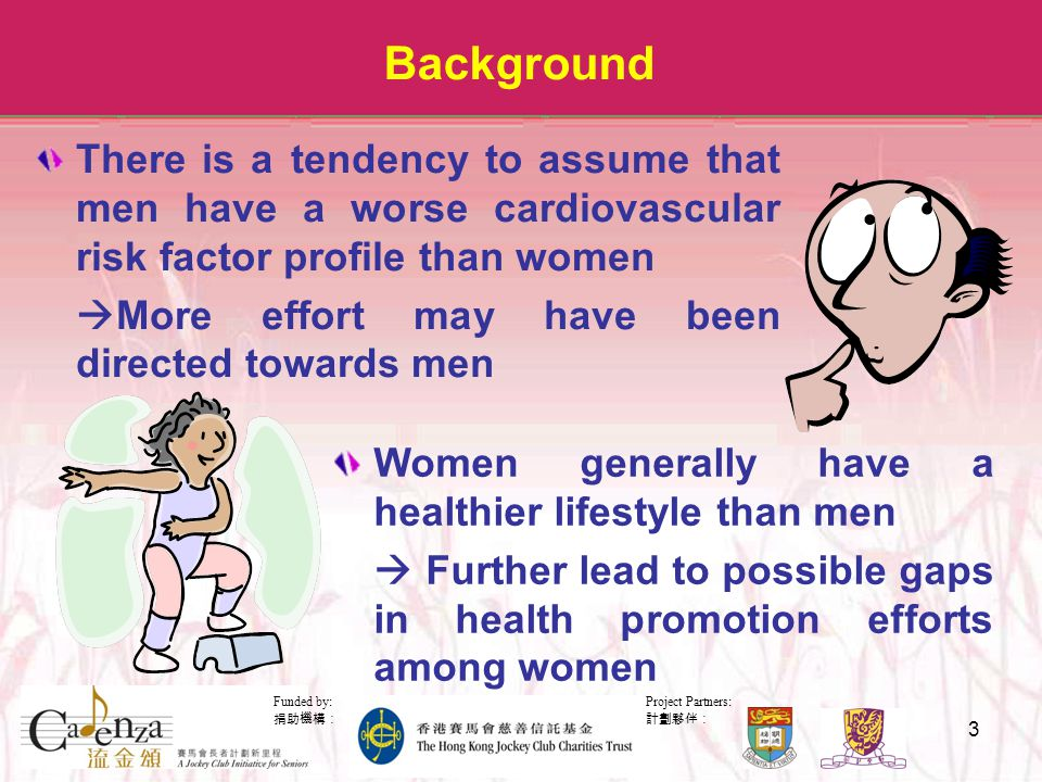 Project Partners: 計劃夥伴: Funded by: 捐助機構: 3 Background There is a tendency to assume that men have a worse cardiovascular risk factor profile than women  More effort may have been directed towards men Women generally have a healthier lifestyle than men  Further lead to possible gaps in health promotion efforts among women
