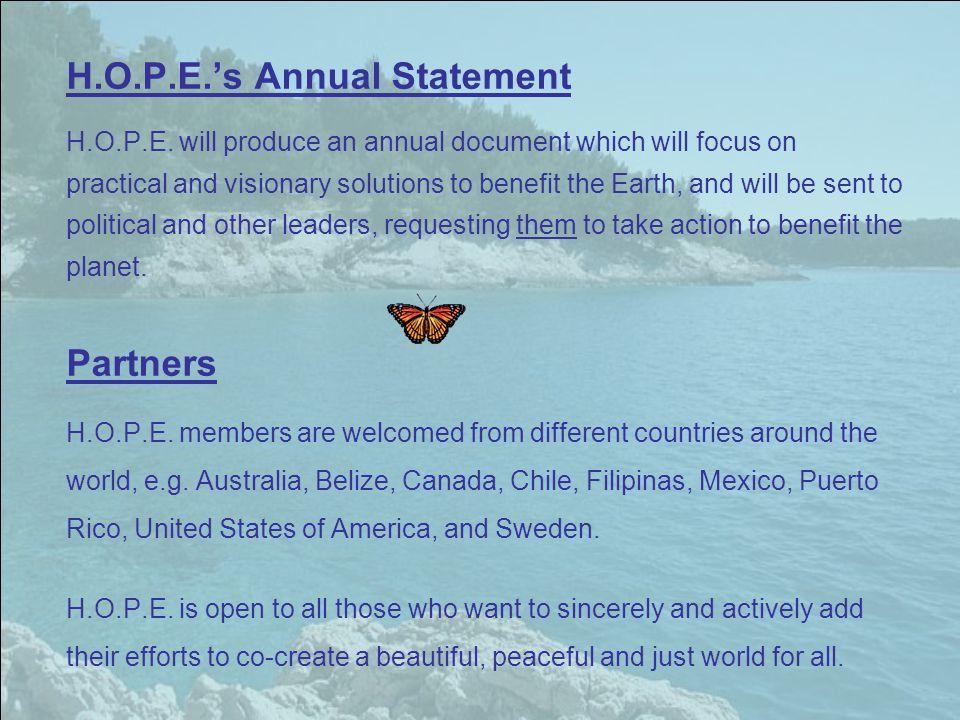 H.O.P.E.'s Annual Statement H.O.P.E.